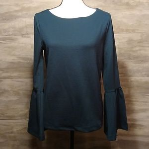 Ann Taylor Teal Bell Sleeve Blouse Size Small
